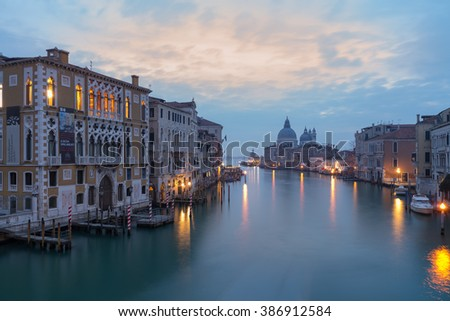 Dusk before sunrise at the Grand Canal with a view towards the Basilica Santa Maria della Salute, Venice - stock photo