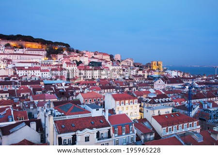 Dusk in the City of Lisbon in Portugal, view from above. - stock photo