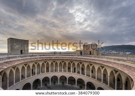 Dusk on top of Bellver Castle, Mallorca - stock photo