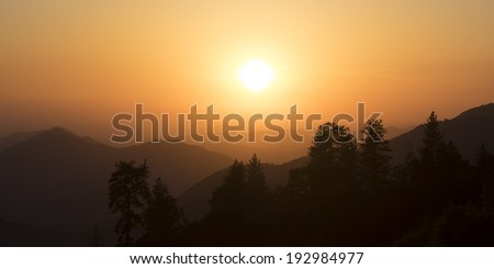 Dusk or Evening in Sierra Nevada Mountains