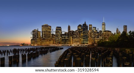Dusk panorama of New York City Manhattan from Pier 1 palisade.