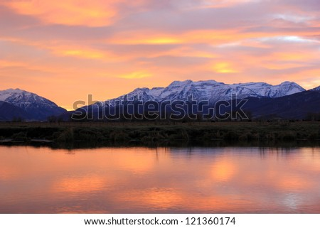 Dusk sky in the Utah mountains, USA. - stock photo