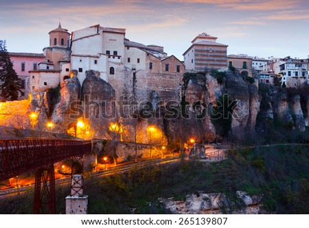 Dusk view of  Cuenca. Spain