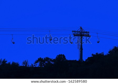 Dusk view of ropeway in Fragrance Mountain, Beijing, China - stock photo