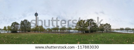 Dusseldorf at dusk. 360 degree panoramic composition. - stock photo