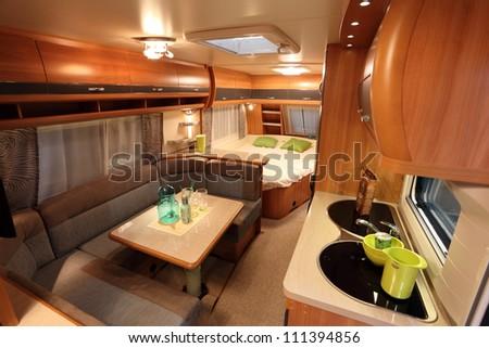 DUSSELDORF AUGUST 27 Interior Modern Camper Stock Photo Royalty
