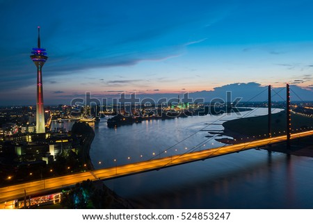 Dusseldorf cityscape sykline view at night, germany