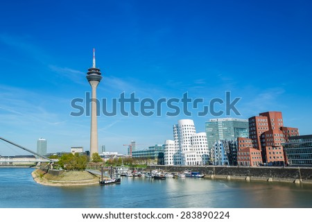 Dusseldorf cityscape with view on media harbor, germany - stock photo