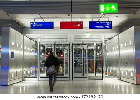 Dusseldorf, Germany- February 4, 2016: Interior if the Dusseldorf International Airport. Dusseldorf Airport located in North Rhine Westphalia and is the 3 largest Airport in Germany. - stock photo
