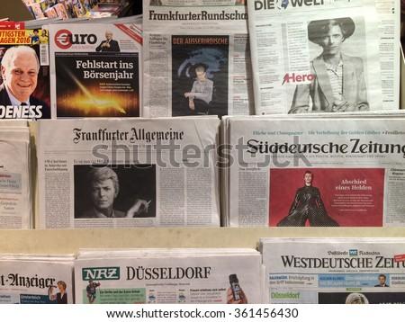 Dusseldorf Germany- January 12,2016: Popular german newspapers on display in a store in Dusseldorf ,Germany) - stock photo