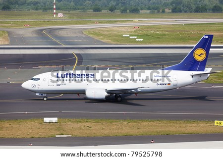 DUSSELDORF, GERMANY - MAY 21: Boeing 737 landed in Dusseldorf airport on May, 21 2011. Lufthansa services around 410 destinations with over 710 aircrafts. It has the second airline fleet in the world