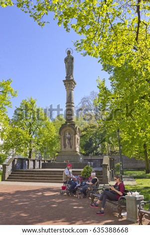 DUSSELDORF, GERMANY - MAY 5, 2016: Mary's column by Renn (1872 /73) on Maxplatz (Karlstadt) square