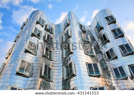 DUSSELDORF, GERMANY - NOVEMBER 18, 2011: Modern building in Dusseldorf, Germany. The building was designed by famous Frank Gehry and completed in 1998.