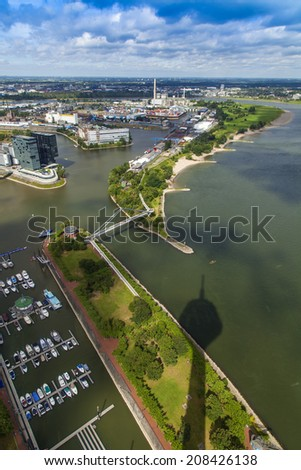 Dusseldorf, Germany, on July 6, 2014. View of Media harbor from a survey platform of a television tower - Reynturm