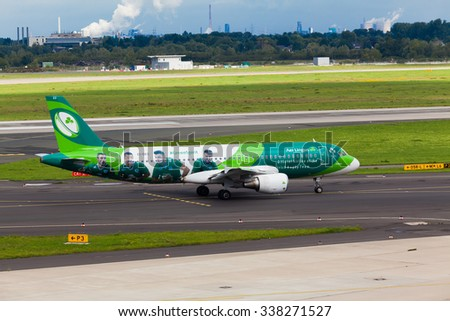 DUSSELDORF, GERMANY - SEPTEMBER 05:airplane of Aer Lingus Group above the Dusseldorf airport on September 05,2015 in Dusseldorf,Germany. Official Airline of the Irish Rugby Team