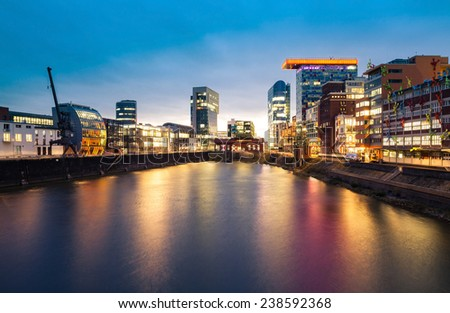 Dusseldorf Media Harbour business district  - stock photo