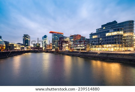 Dusseldorf Media Harbour panorama at sunset, - stock photo