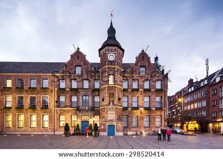 Dusseldorf rathaus city hall with plaza  - stock photo