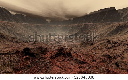Dust blowing off from Martian tablelands - stock photo