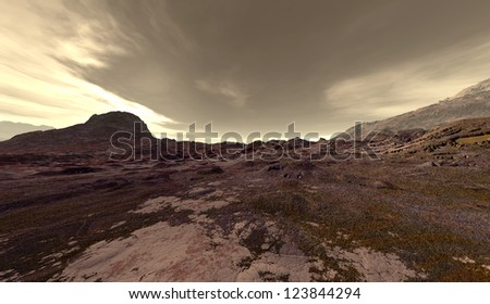 Dust clouds blowing over Martian uplands - stock photo