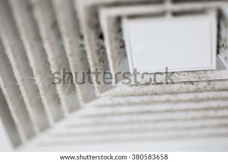 Dust out from Air Duct, Danger and the cause of pneumonia in office man. - stock photo