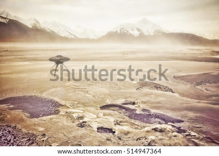 Dust storm in an alien landscape with a grounded UFO spaceship.