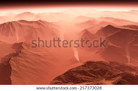 Dust storm on Mars - stock photo