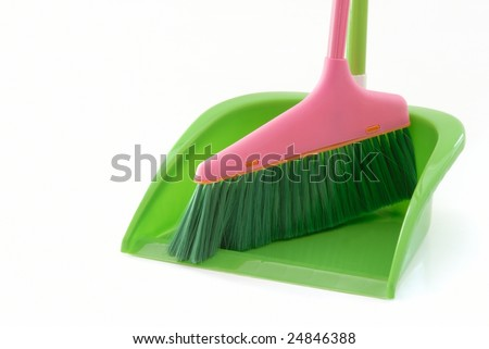 dustpan and broom isolated on the white