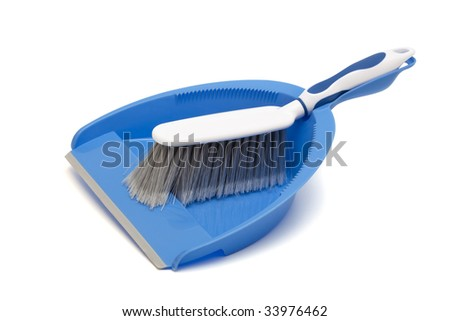 dustpan and brush on a white background
