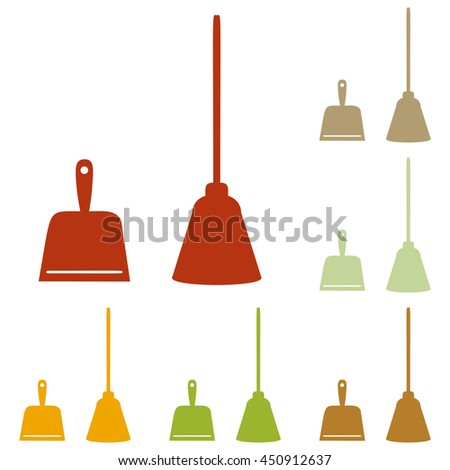 Dustpan sign. Scoop for cleaning garbage housework dustpan equipment. Colorful autumn set of icons.