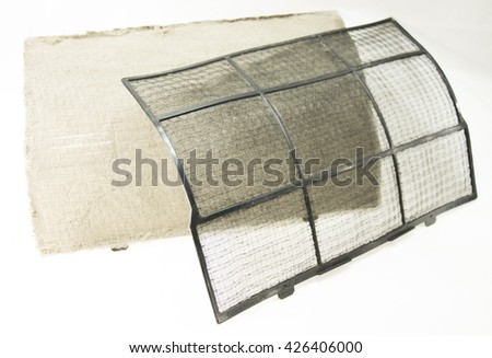 Dusty and clear air condition filter.