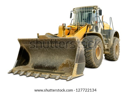 Dusty big bulldozer, isolated on pure white background - stock photo