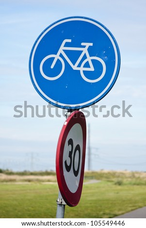 Dutch bicycle lane roadsign