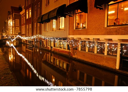 Dutch canal by night