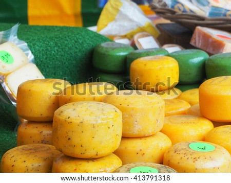 Dutch cheese in the market      - stock photo