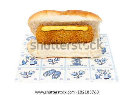 Dutch croquette sandwich with mustard on a napkin against white background - stock photo