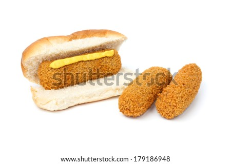 Dutch croquette sandwich with mustard two separate croquettes against white background - stock photo