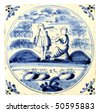 Dutch Delft blue tile - stock photo