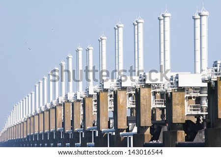 Dutch Delta Works - the Eastern Schelde (Oosterschelde) storm barrier.