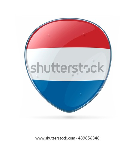 Dutch Flag icon, isolated on white background.