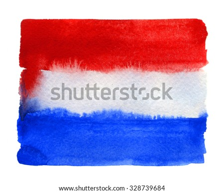 Dutch flag painted with watercolors on white background - stock photo
