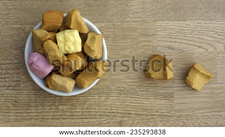 Dutch ginger bread and candies, typical Dutch treat for Sinterklaas on 5 december - stock photo