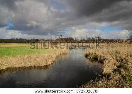 Dutch landscape National park Weerribben-Wieden - stock photo
