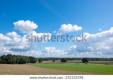 Dutch landscape with typical dutch white clouds and blue sky - stock photo