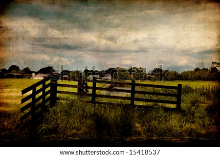Dutch meadow on texture - stock photo