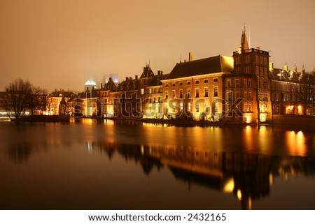 Dutch Parliament at night