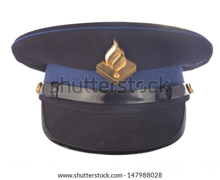 Dutch police cap isolated on white background - stock photo