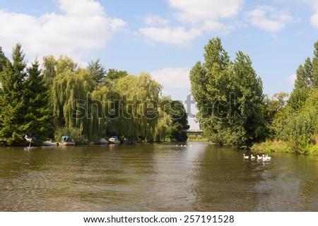 Dutch river in tranquil landscape - stock photo