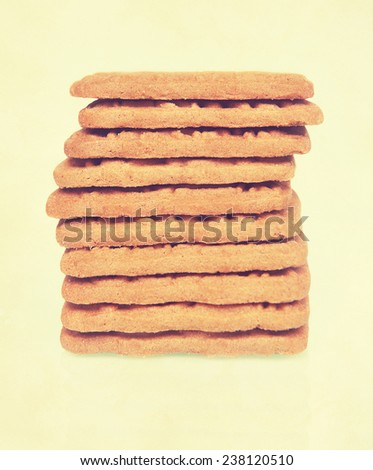 Dutch Speculoos cookies. Textured filtered image in a retro nostalgic style. Timeless recipes concept.