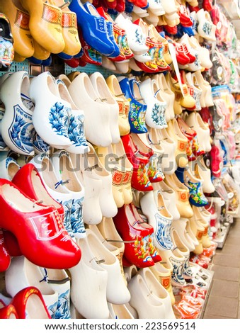 Dutch traditional wooden shoes in an Amsterdam shop - stock photo